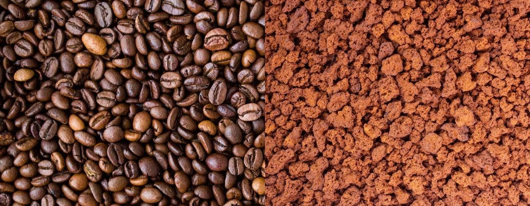 Coffee beans and instant coffee