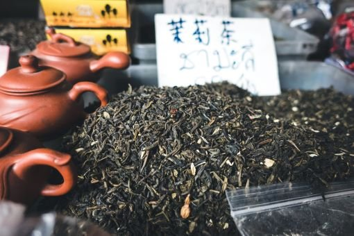 Tea leaves and teapot